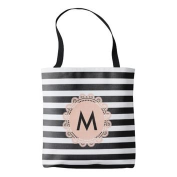 Monogram Striped Pattern Tote Bag for Mother's Day