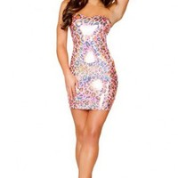 Pink Leopard Pucker Back Strapless Mini Dress @ Wowpink sexy dresses,sexy dress,prom dress,summer dress,spring dress,prom gowns,teens dresses,sexy party wear,women's cocktail dresses,ball dresses,sun dresses,trendy dresses,sweater dresses,teen clothing,ev