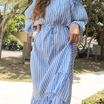 Vintage Flounce Sleeve Asymmetrical Ruffle Hem Striped Dress