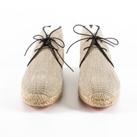 Beige Woven Raffia Chukka Lace-up Shoes