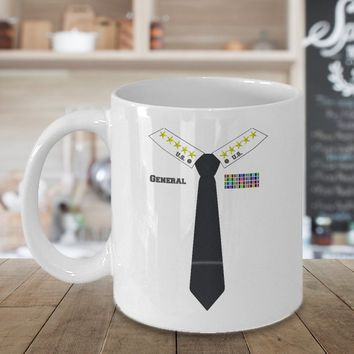 General Coffee Mug 11oz White, Military General, 5 Star General, Military Officer, Military Gift Idea, Tie, Coffee Cup, Halloween, Costume