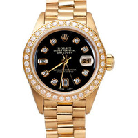 Yellow gold president style rolex date just watch bezel diamond dial black
