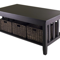Morris Coffee Table with 3 Foldable Baskets