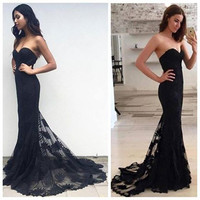 Sweetheart Black Lace Long Prom Dresses,Prom Dress