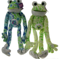 Lot 2 Flower Power Frogs Free Hugs Peace Symbol Hanging Plush Embroidered