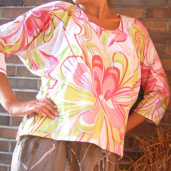 Lime Coral Floral BATWING SHIRT Cotton xl xxl 2xl 18 20 - Watermelon melon Comfortable Leisure Casual Design Wear - OOAK tallhappycolors