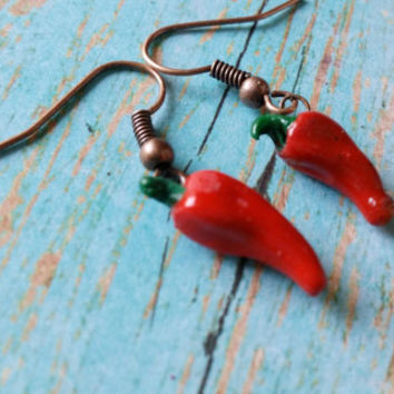 Tiny Pepper Earrings, Chili Pepper Earrings, Red Pepper Earrings, Southwestern Jewelry, Wood Pepper Earrings, Chili Pepper Jewelry