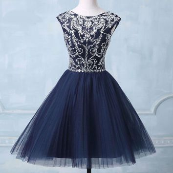 Ball gown Cap sleeve Heavy Beaded Special occasion mini short party cocktail dresses