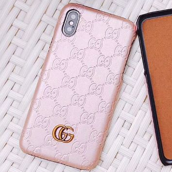 GUCCI simple solid color iPhone 6 case 6S luxury 6plus or iPhone7 tide brand i8X Rose gold