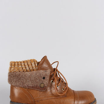 *Sweater Fold Over Cuff Round Toe Lace Up Combat Booties