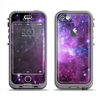 The Violet Glowing Nebula Apple iPhone 5c LifeProof Nuud Case Skin Set