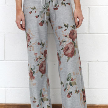 Soft Floral Print Lounge Pants {H.Grey Mix}