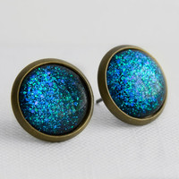 Underwater Post Earrings in Antique Bronze - Blue, Indigo & Green Glitter Stud Earrings