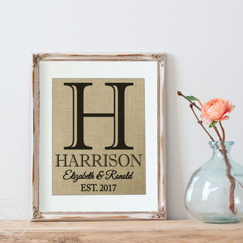 Bridal Shower Gift on Real Burlap | 10 Year Anniversary | Burlap Monogram | Personalized Wedding Gift for Couple | Last Name |  Est. Sign