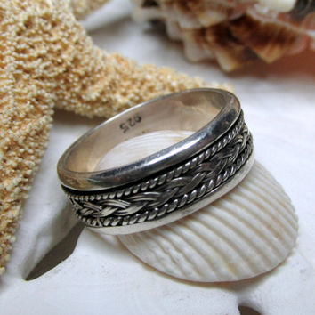 Sterling Silver Woven Braid Spinner Ring Band  3.91g Size 7 Movable