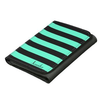 Black Mint Stripes - Personalized Name Wallet
