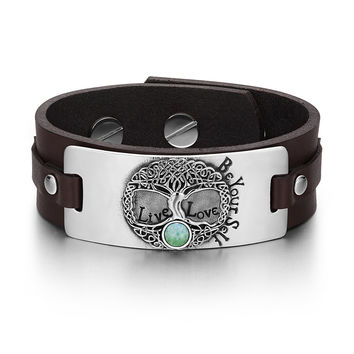 Tree of Life Live Love Be Your Self Celtic Amulet Green Quartz Gemstone Adjustable Brown Leather Bracelet