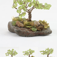 Gem Tree Of Life Sculpture Peridot  on Brown Artistis Wire Wrapped Trunk Precious Gemstone Zen Yoga Room or Office Decor