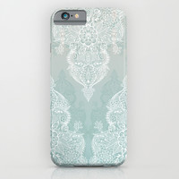 Lace & Shadows - soft sage grey & white Moroccan doodle iPhone & iPod Case by Micklyn