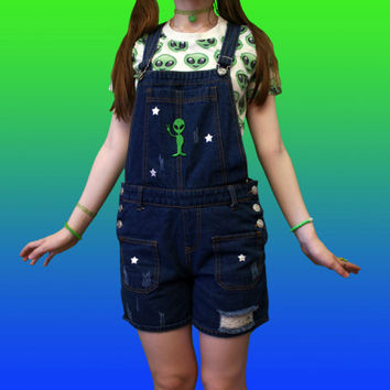 ALIEN Overalls // Cyber Space Denim Kawaii Cute Punk
