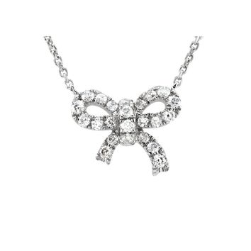 1/6 Ctw Diamond Small Bow Necklace in 14k White Gold, 18 Inch