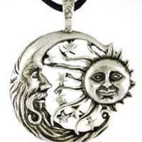 Sun Moon Windblown Celestial Amulet Charm Necklace Pendant Wicca Wiccan Pagan Metaphysical Spiritua