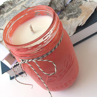 Hand Poured Soy Candle - Citronella scented Soy Candle -- 16 ounce Hand Painted Mason Jar
