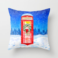 Red British Telephone Box In Falling Snow - Christmas Throw Pillow by Mark E Tisdale