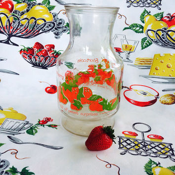 1970s Strawberry Shortcake Carafe By Anchot Hocking Vintage Juice Pitcher