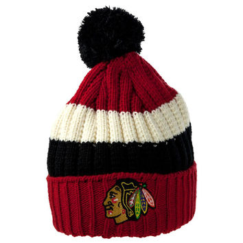 Chicago Blackhawks - Logo Slope Adult Pom Pom Knit Hat