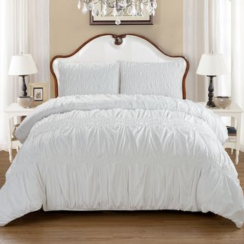 Puff Microfiber Ruched Duvet Cover Set