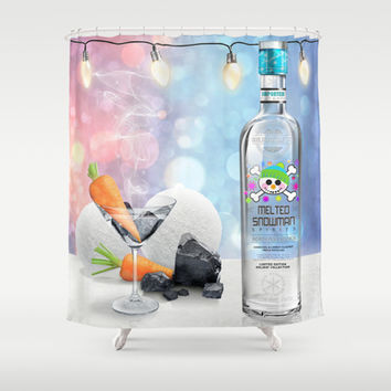 Melted Snowman Martini - North Pole Vodka Shower Curtain by soaring anchor designs ⚓