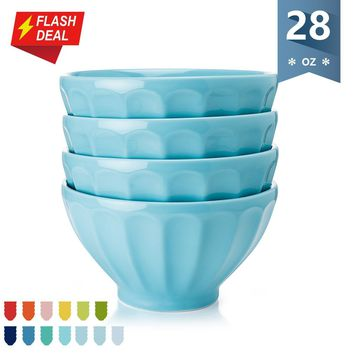Sweese Porcelain Fluted Latte Bowl Set - 28 Ounce Stable and Deep - Microwavable Bowls for Cereal, Soup - Set of 4, Turquoise