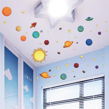 NEW DIY home decal Roof wall sticker Outer space Planet for creative kids room baby nursery decor party supply bathroom wall art