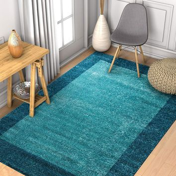 7035 Blue Solid Color Contemporary Area Rugs