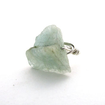 Rough aquamarine ring, sterling silver wire wrapped ring, natural gemstone statement ring, March birthstone, raw gemstone ring