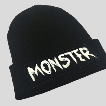 Monster Grunge Gothic Style Winter Beanie Headwear Hipster Indie Swag Dope Hype Black Hat Beanie Mens Womens Cute Slouchy Hat