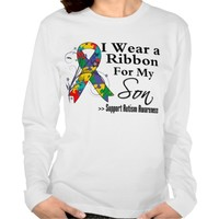 I Wear The Ribbon For My Son - Autism Ribbon long sleeve t-shirt
