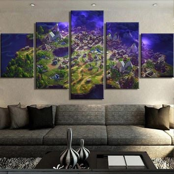Fortnite Map Canvas Large Framed Five piece Canvas Wall Art