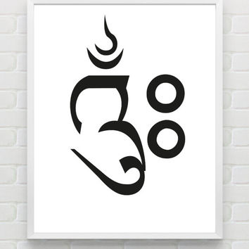 "Typography Print ""Om"" Printable Typography Art Yoga Print Poster Minimalist Print Black and White Wall Art Home Decor Gift Ideas"