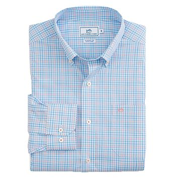 Pinney's Beach Plaid Sport Shirt in Ocean Channel by Southern Tide