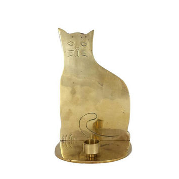 Brass Cat Candlestick Holder Bookend Vintage Mantle Bookshelf Home Office Animal Decor
