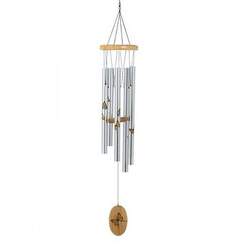 Aluminum Wind Chimes with Printed Butterflies - 37 inches