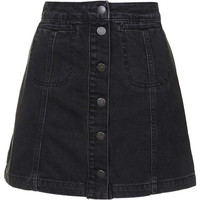 PETITE MOTO Black Button Front Skirt - Skirts - Clothing