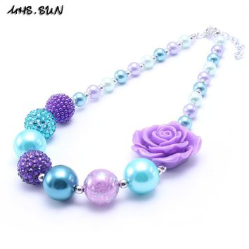 MSH.SUN Flower bubblegum necklace Chunky Purple+Bule color Strand beads necklace best gift for kids/girls Charms jewelry BN174