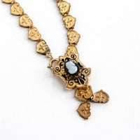 Antique Victorian Cameo Bookchain Necklace - 1880s Gold Filled Carved Black, White Agate Taille d'Epargné Black Enamel Heart Link Jewelry