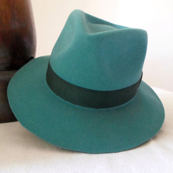 Teal Green Wool Felt Fedora - Wide Brim Merino Wool Felt Handmade Fedora Hat - Men Women