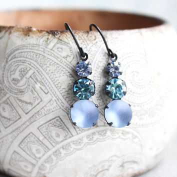 Blue Glass Drop Earrings Small Jewel Earrings Womens Gift Lightweight Something Blue Light Sapphire Aqua Bohemica Frosted Blue Nickel Free