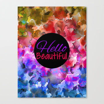 HELLO BEAUTIFUL Colorful Art Typography Inspirational Abstract Watercolor Painting Ombre Rainbow Canvas Print by EbiEmporium