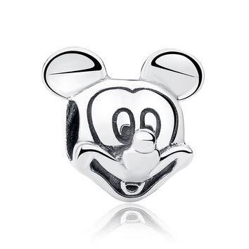Gift Sterling Silver 925 Lover Cute Mickey Shape Charms and beads Fit Pandora Bracele